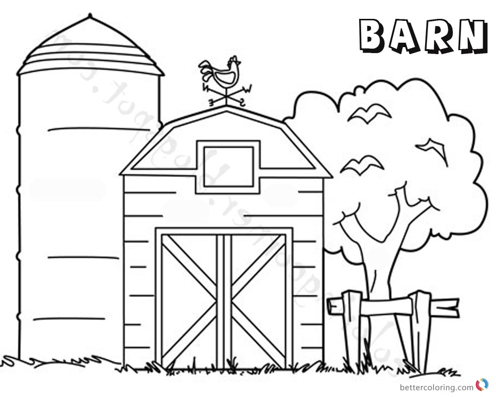 1000x800 Barn Coloring Pages Tree