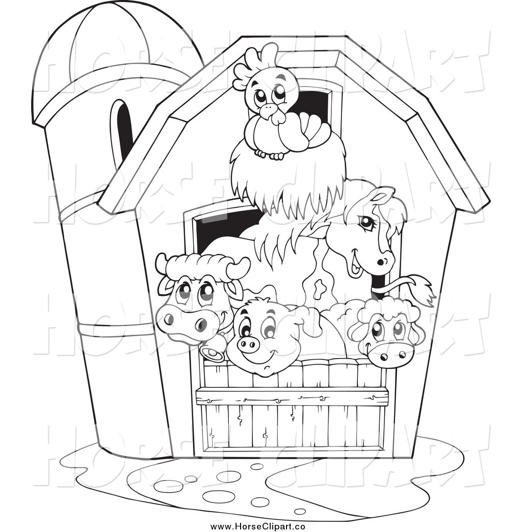 1024x1044 Royalty Free Equine Clip Art Of A Black White Barn