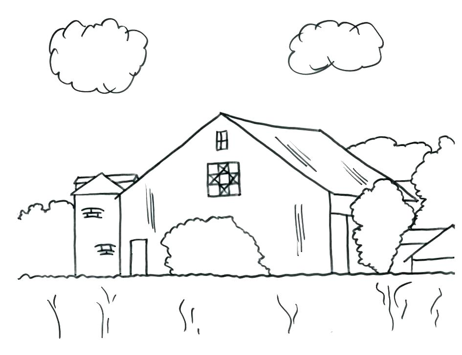 945x727 Barn Coloring Page Barn Barn Coloring Pages With Animals