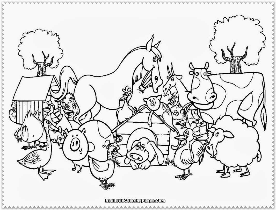 1066x810 Barnyard Coloring Pages Printable Farm Animal Animals