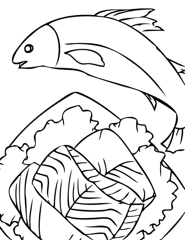 618x800 Gallery For Salmon Drawing Outline Salmon Coloring Pages Sketch