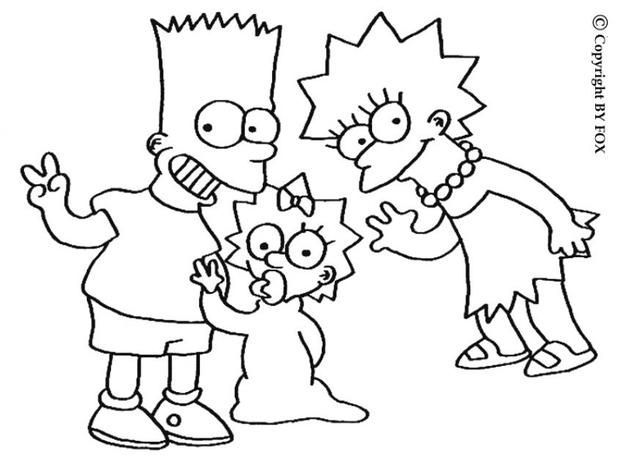 620x465 Lisa, Maggie And Bart Simpsons Coloring Page More The Simpsons