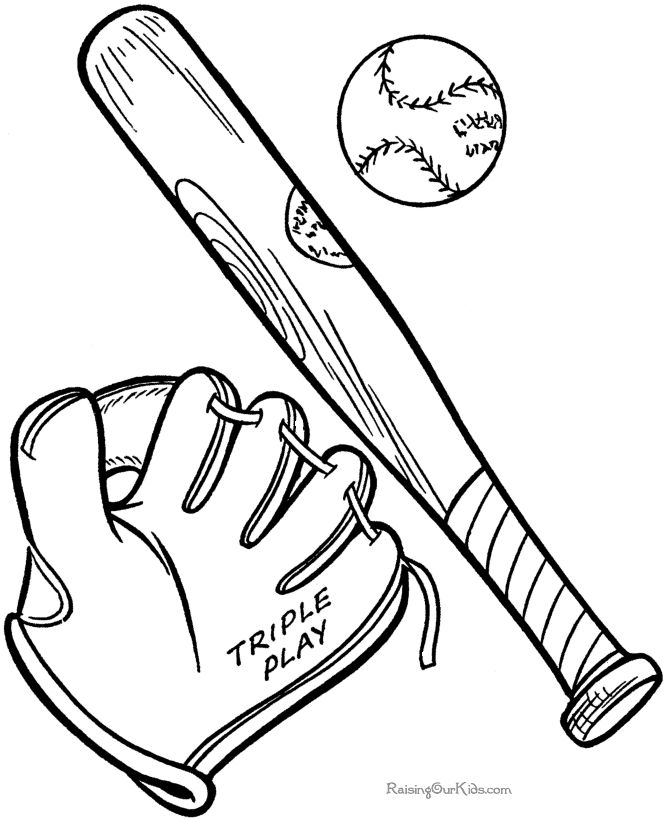 Baseball And Bat Coloring Page