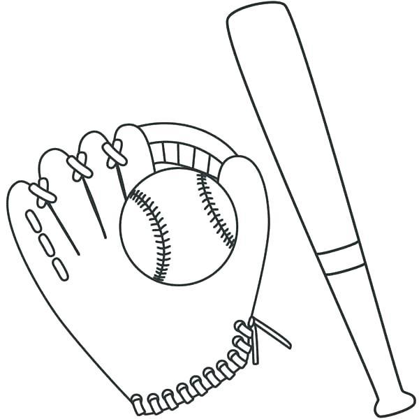 600x600 Baseball Glove Coloring Page Baseball Bat Coloring Page Baseball
