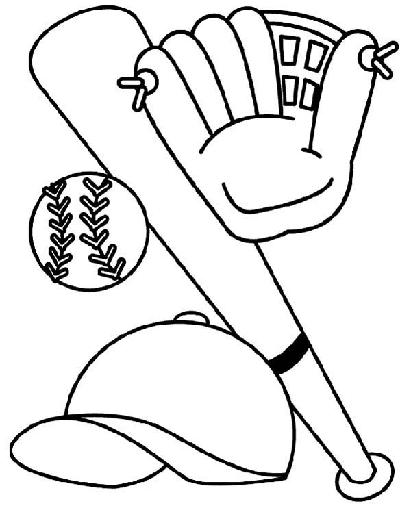 600x761 Bat, Glove, Hat And Baseball Coloring Page