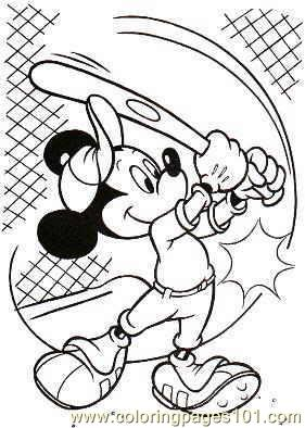 281x394 Mickey Mouse Baseball Coloring Pages Com Coloring Page