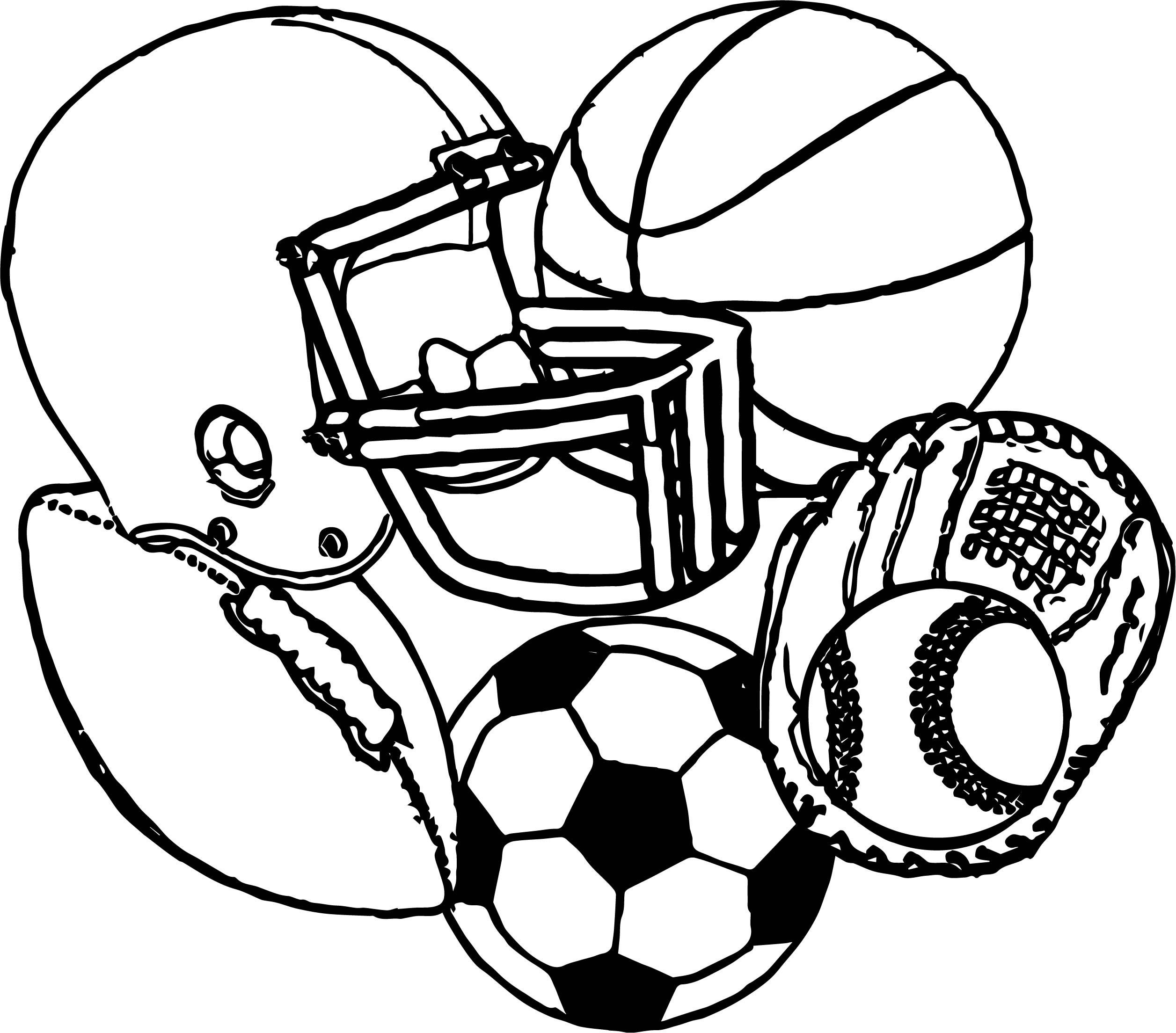 2513x2208 Sports Coloring Pages Beautiful Equipment Football Baseball
