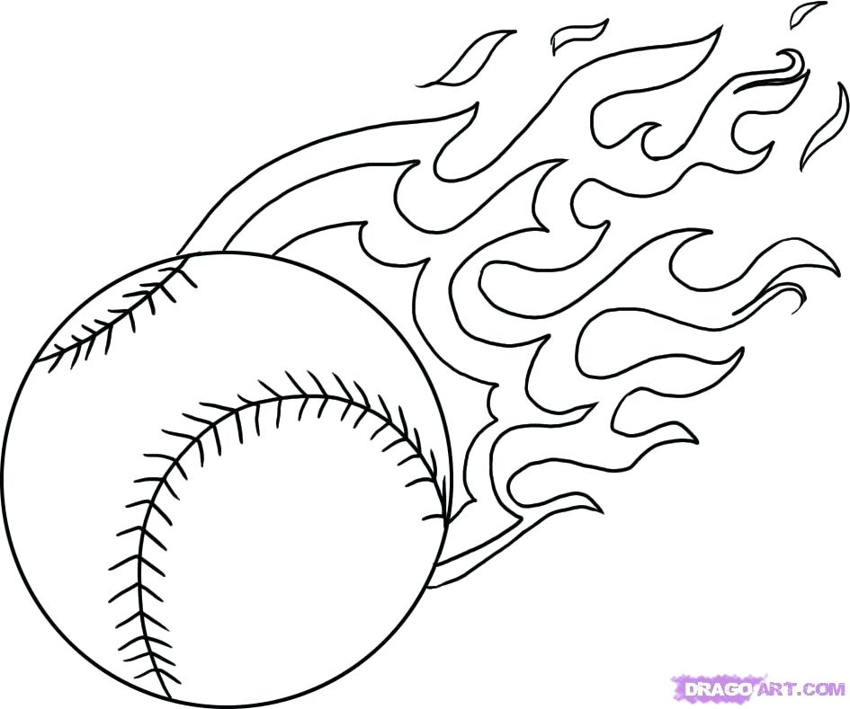 945x789 Baseball Color Pages Baseball Ball Flames Cool Coloring Pages