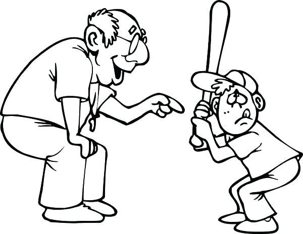 600x464 Baseball Color Pages Grandfather Teach Me Playing Baseball