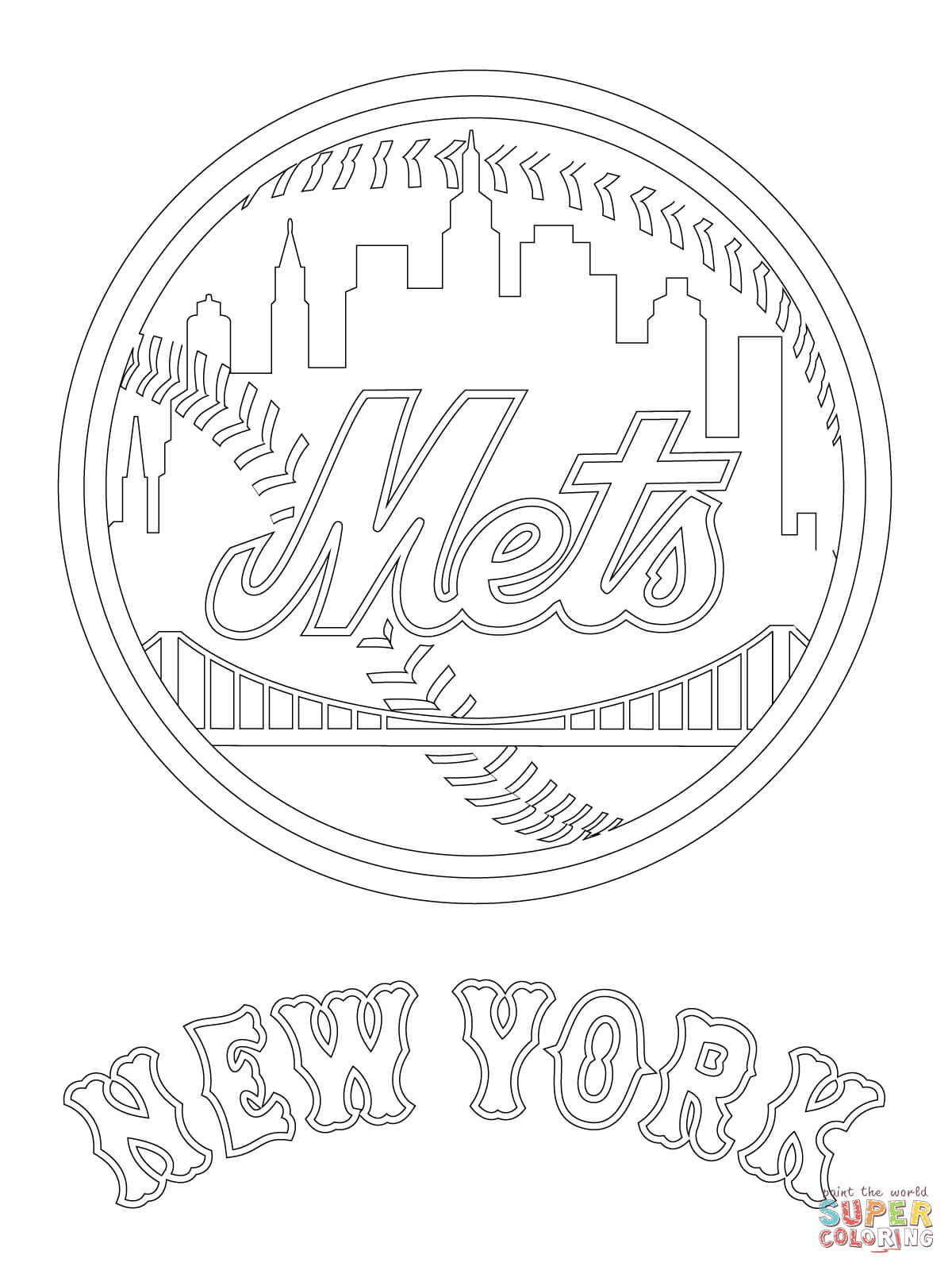 1200x1600 Obsession New York Yankees Coloring Pages Free Mets Logo Page