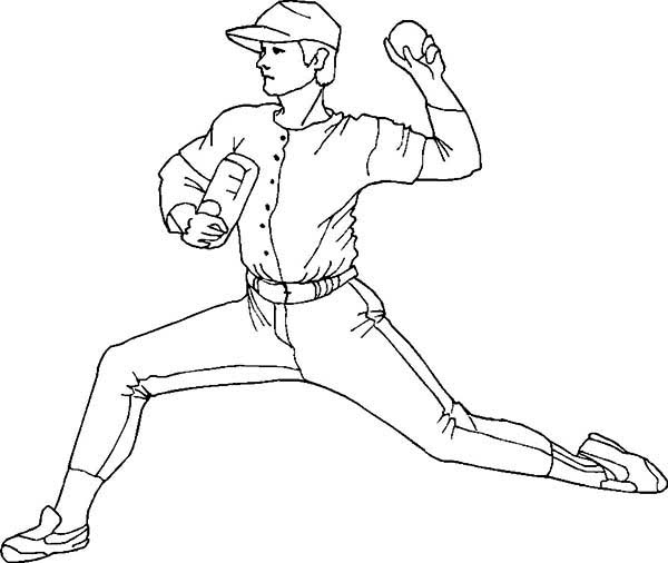 600x506 Baseball Pitcher Coloring Pages