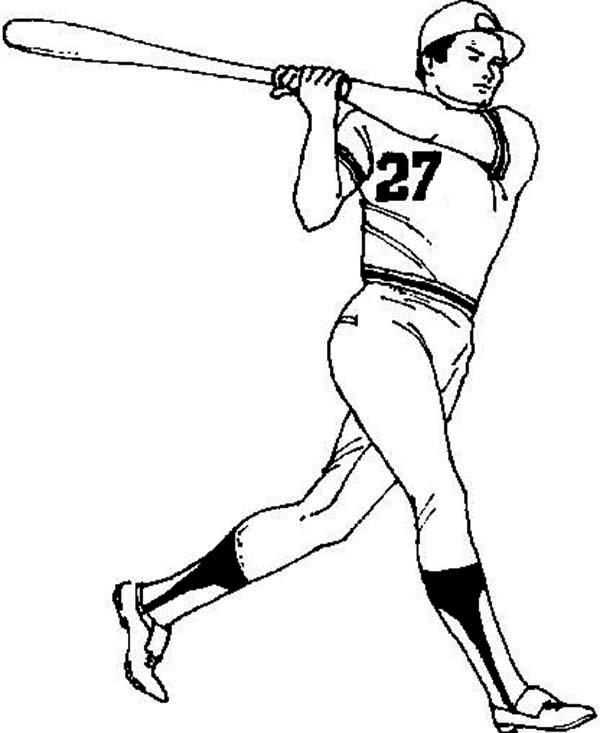600x733 Baseball Player Coloring Page
