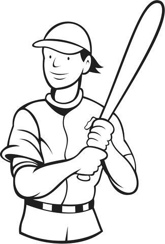 325x480 Baseball Player Coloring Page Baseball Player Batting Stance