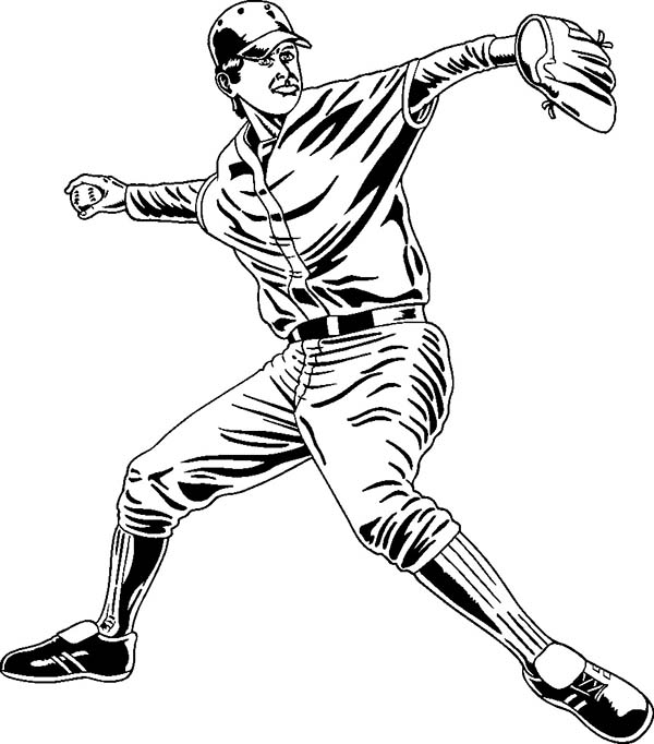600x682 Professional Baseball Player Coloring Page