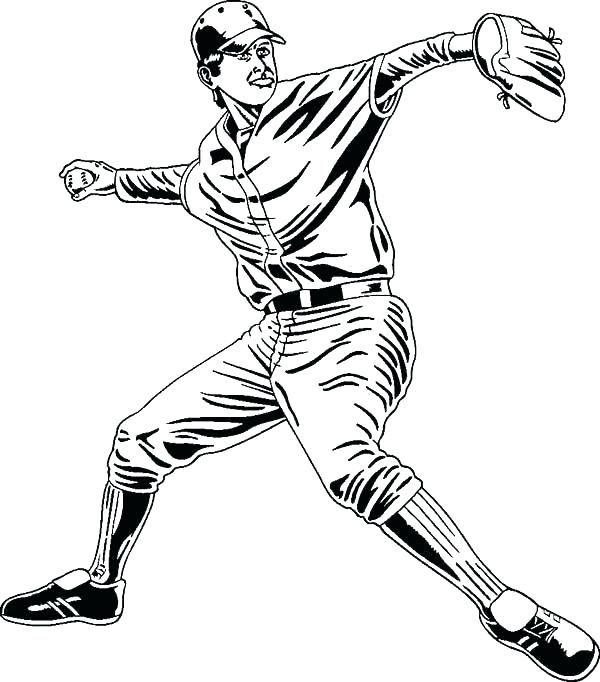 600x682 Free Baseball Coloring Pages Baseball Player Coloring Pages