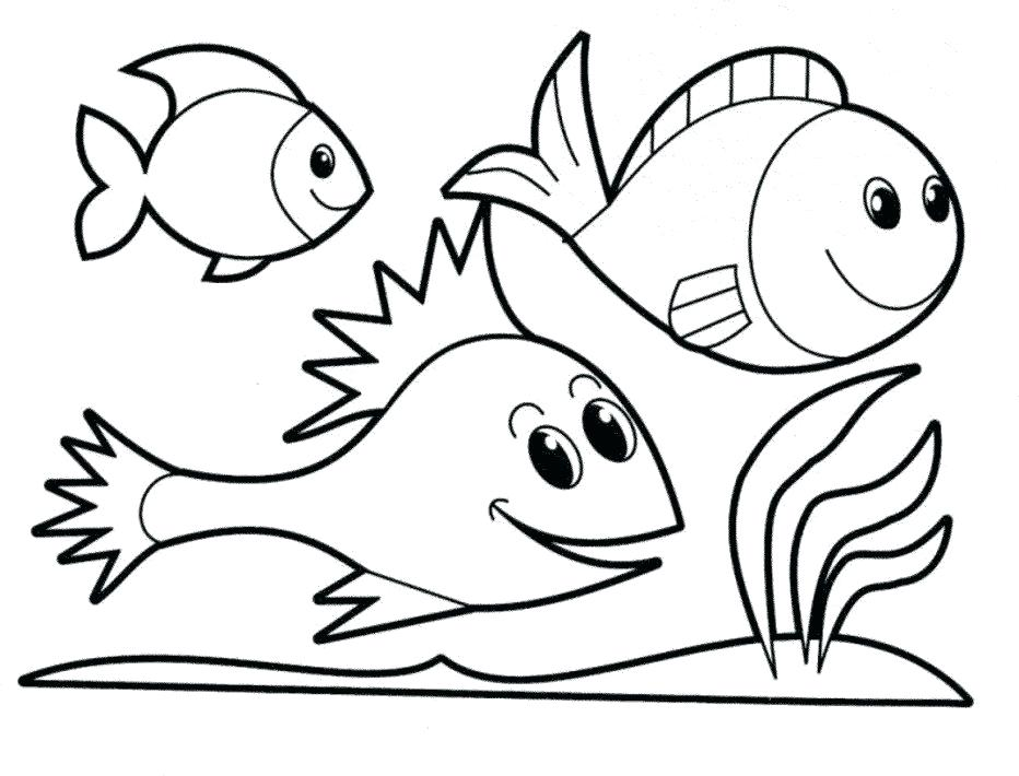 932x710 Basic Coloring Pages Simple Fish Outline Page Sheet Easy Mandala