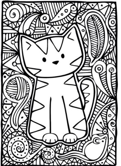 465x636 Kitty Cat Basic Coloring Page Colouring Pages