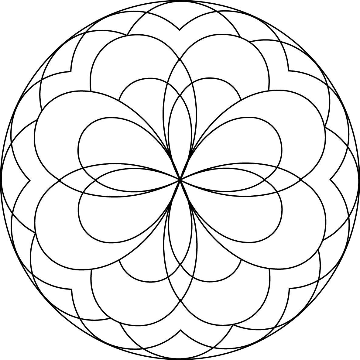 1185x1185 Easy Mandala Coloring Page