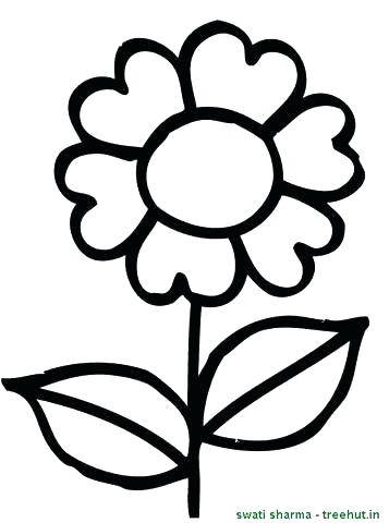 357x480 Simple Flower Coloring Pages