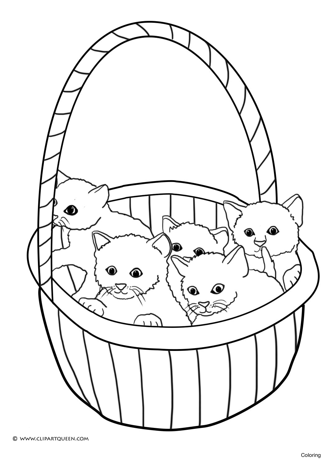 1042x1476 Cats In A Basket Coloring Pages Of Kittens Cat Catching Butterfly
