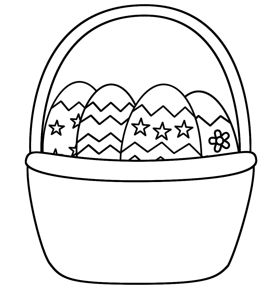 1070x1120 Coloring Pages Of Easter Baskets Color Bros Within Spring Basket