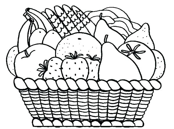 600x443 Fruits Coloring Pages Coloring Pages Fruits Basket Coloring Pages