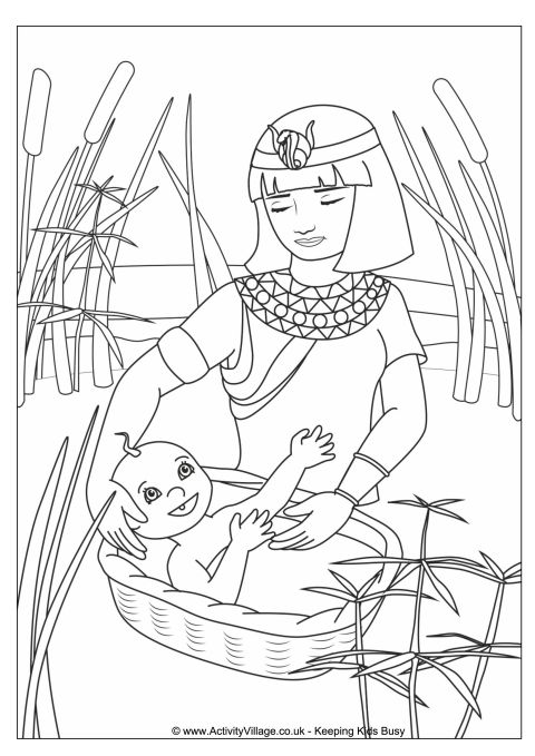 480x679 Moses In The Basket Colouring Page