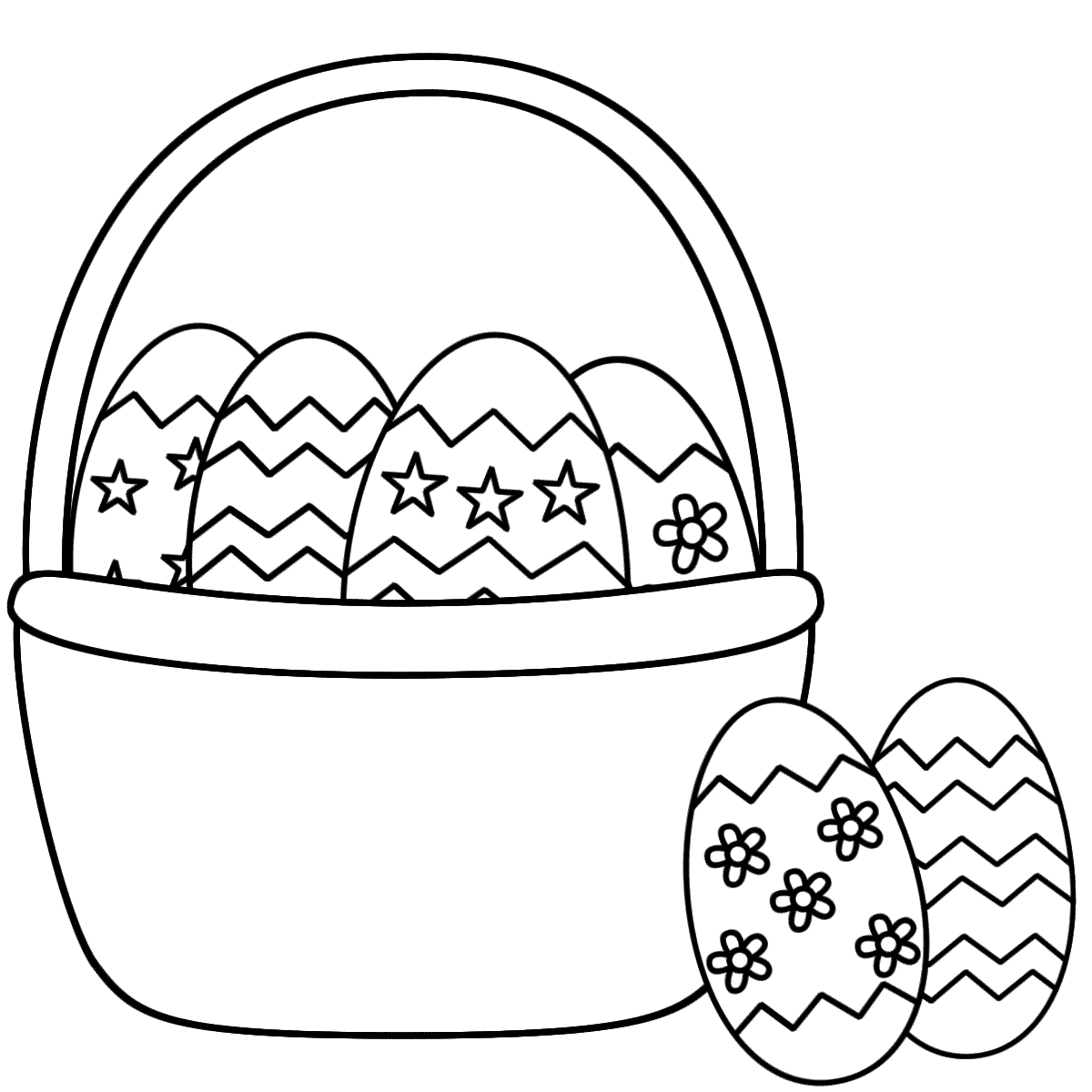 1200x1200 Printable Easter Egg Coloring Pages For Kids And Basket
