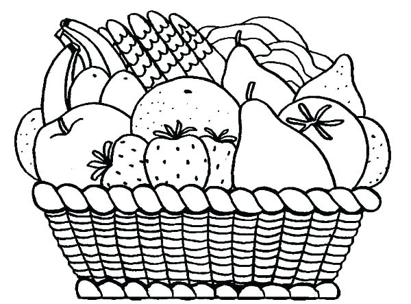 600x443 Coloring Pages Fruits Basket Coloring Pages Printable Basket