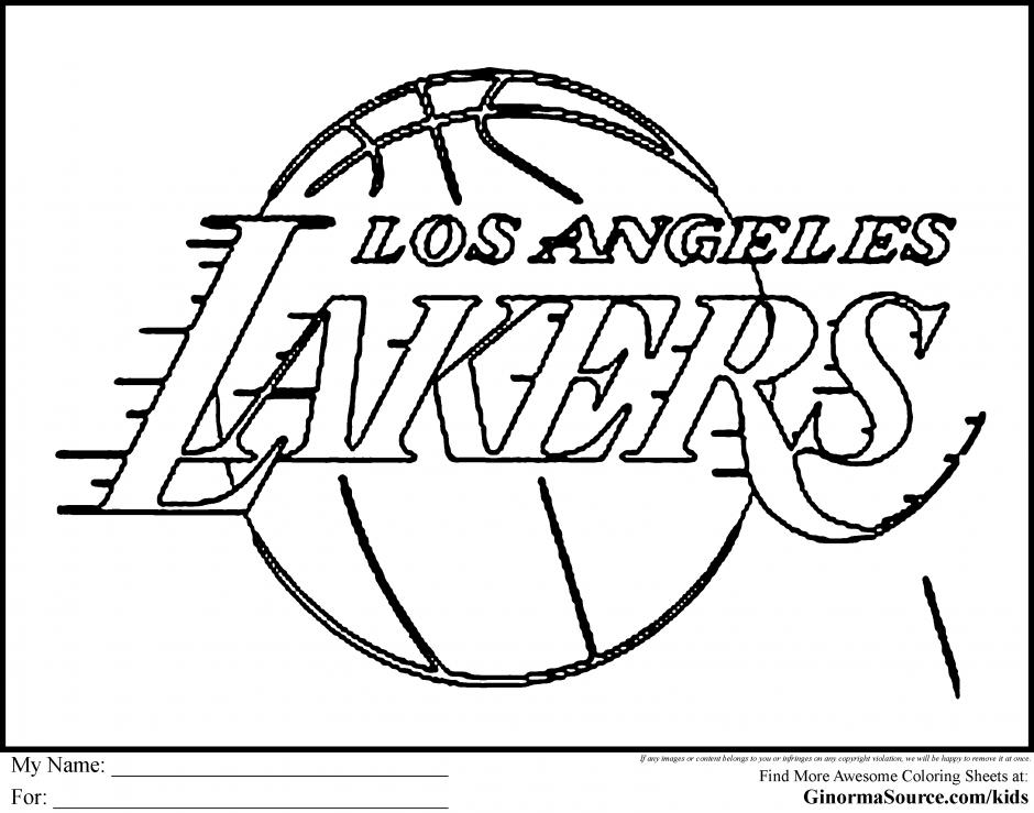 940x739 Basketball Coloring Sheets Basketball Coloring Pages Lakers Logo