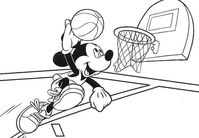 769x533 Mickey Mouse Basketball Coloring Pages