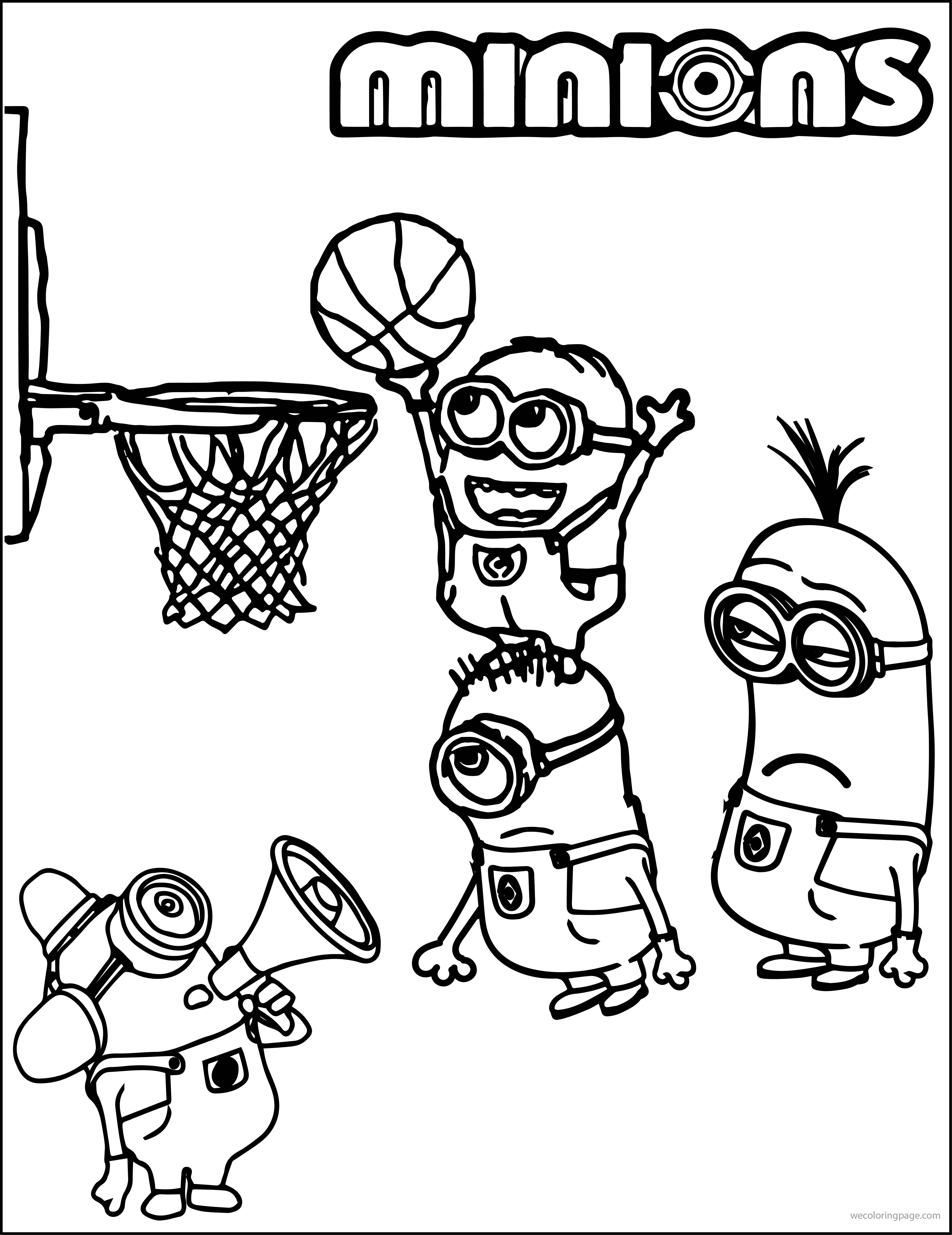 4499x5835 Minion Playing Basketball Coloring Pages Canvas Patterns, Clay