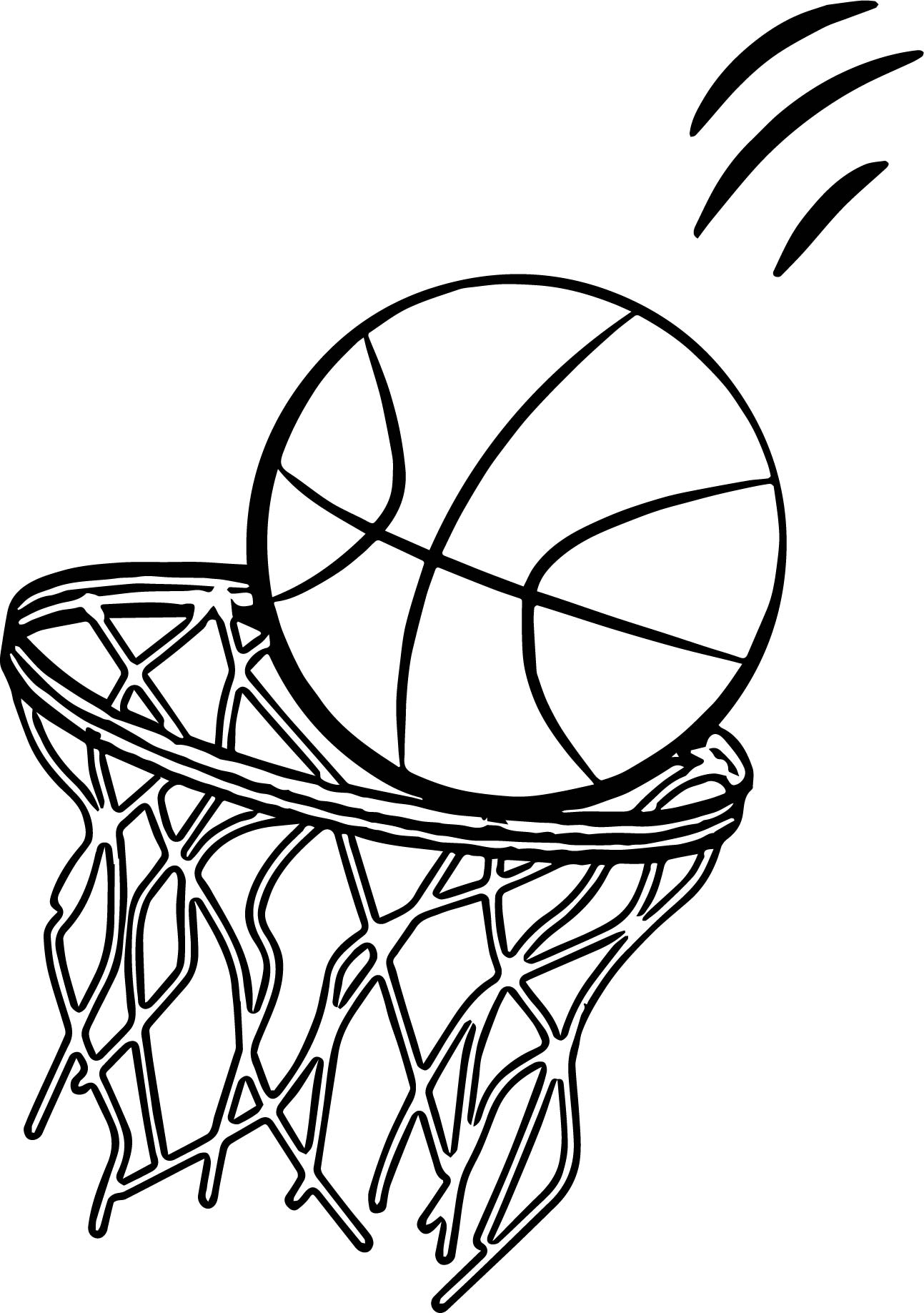 1293x1837 Going Basketball Ball Playing Basketball Coloring Page