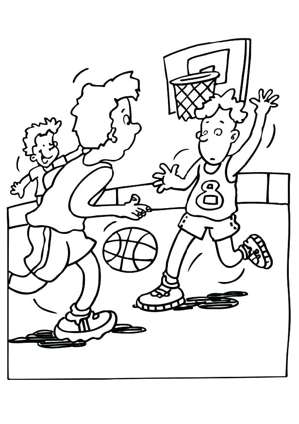616x872 Basketball Hoop Coloring Page Professional
