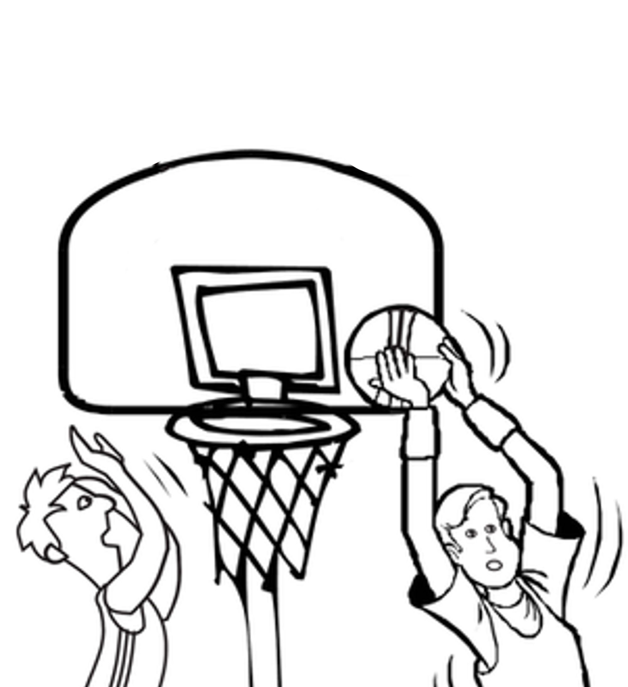 2000x2187 Basketball Hoop Coloring Page