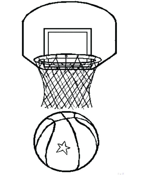 575x690 Basketball To Color Basketball Hoop Coloring Page Best Hall Door