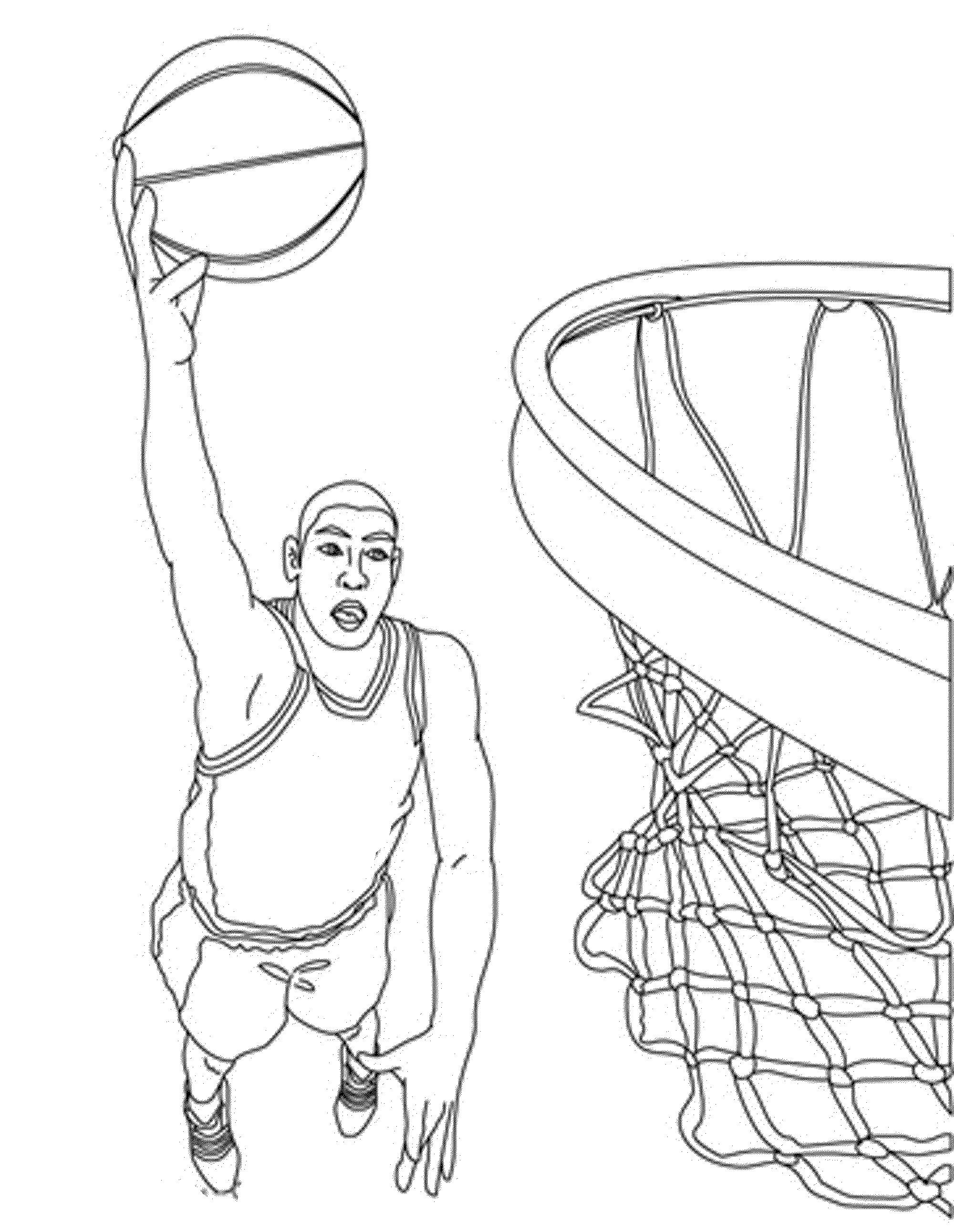 2000x2582 Impressive Basketball Hoop Coloring Pages Printable With Page