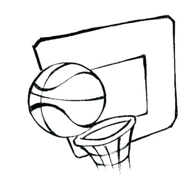 391x365 Basketball Hoop Coloring Page Free Basketball Play Sheets Blank