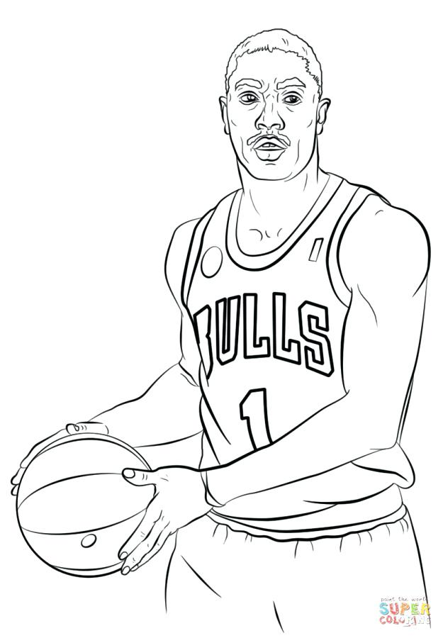 625x900 Basketball Player Coloring Pages Nba Printable Is Page Derrick