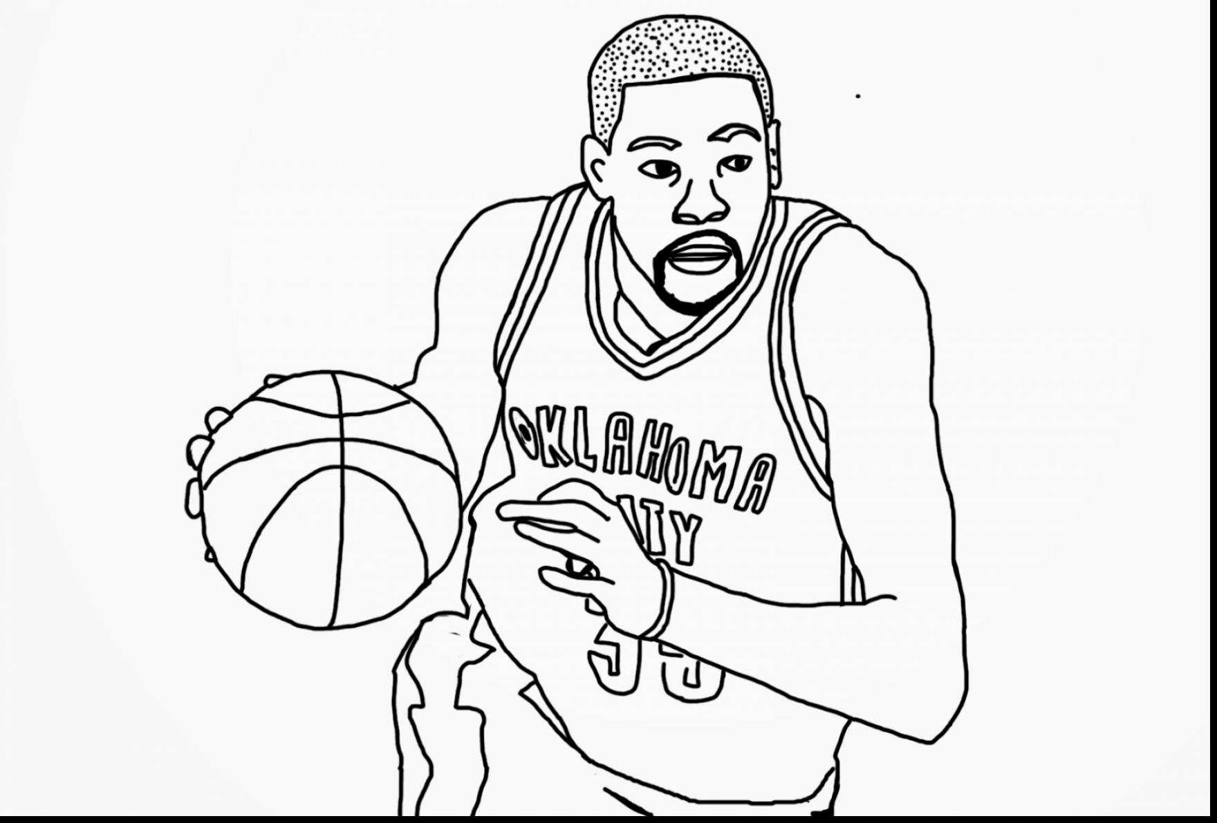 1760x1191 Basketball Player Coloring Pages To Print Of Kevin Durant For Page