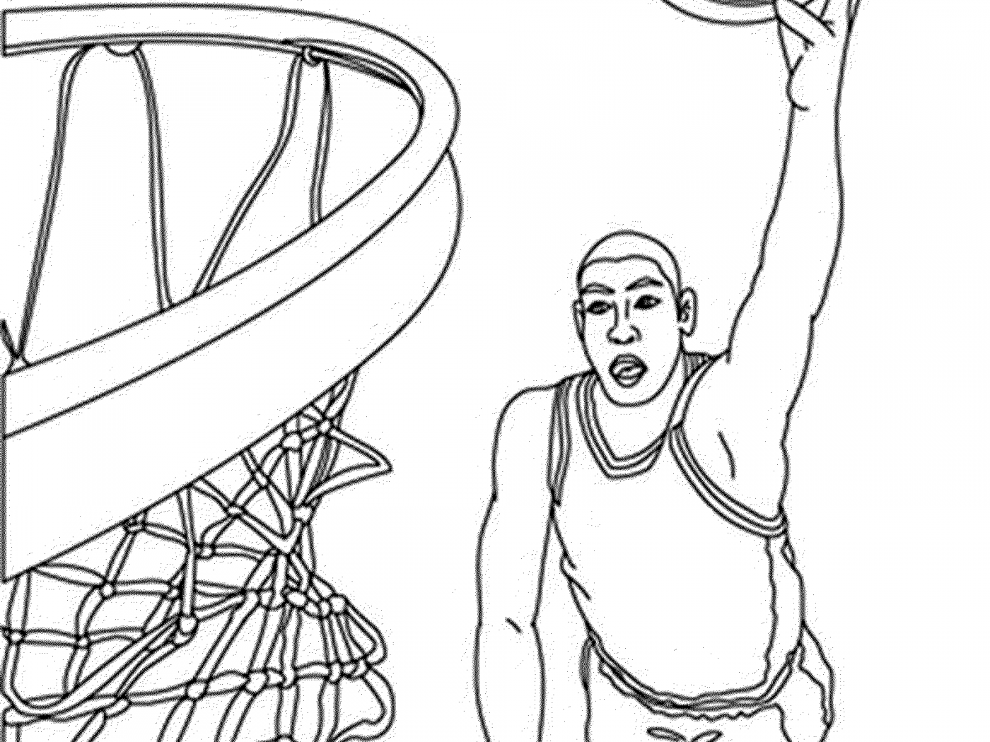 1400x1050 Slam Dunk Coloring Pages Magnificent Boy Basketball Player Page
