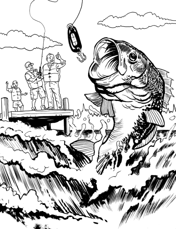 Bass Boat Coloring Pages