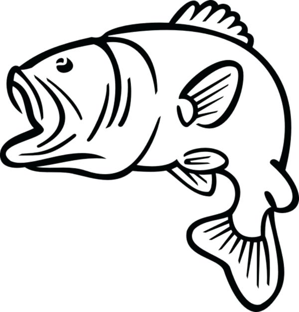 600x626 Bass Coloring Pages Bass Boat Outline Of Fish Bass Boat Coloring