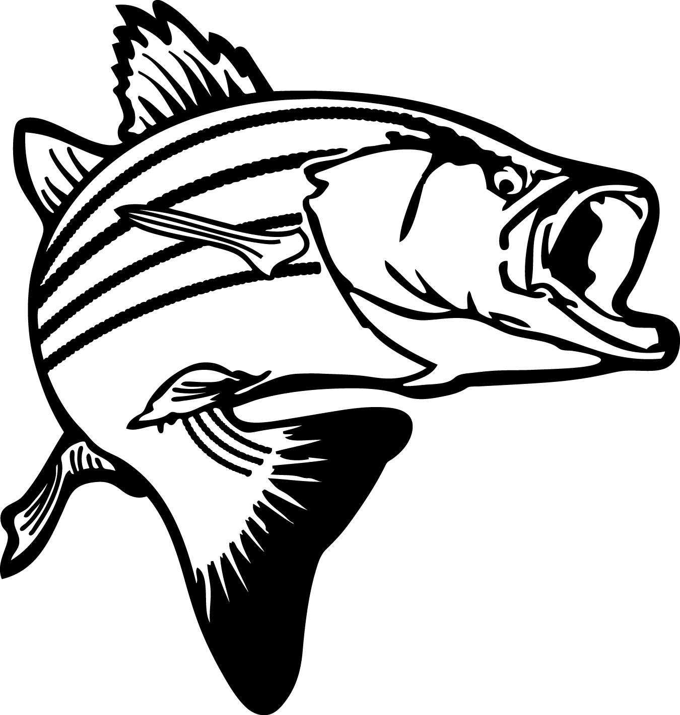 1350x1421 Bass Fish Coloring Pages