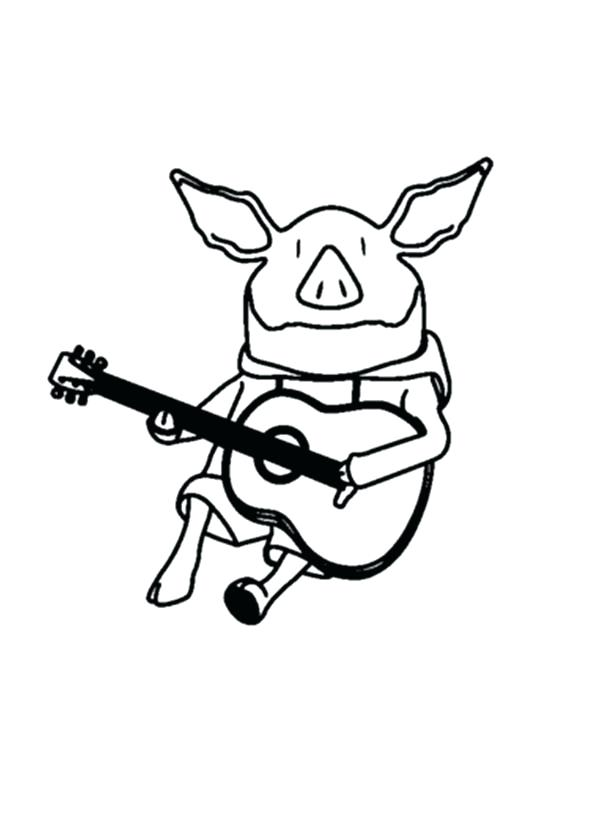 600x834 Guitar Coloring Pages The Pig Playing Guitar Coloring Page Bass