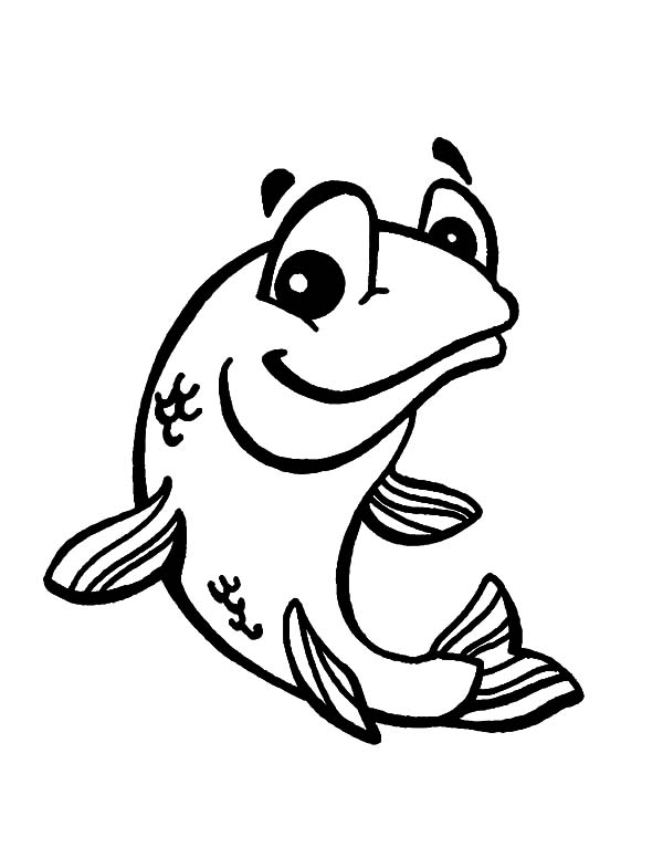600x776 Smiling Bass Fish Coloring Pages