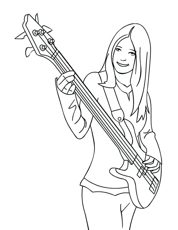 600x776 Bass Guitar Drawing At Free For Personal Use Bass Double Bass