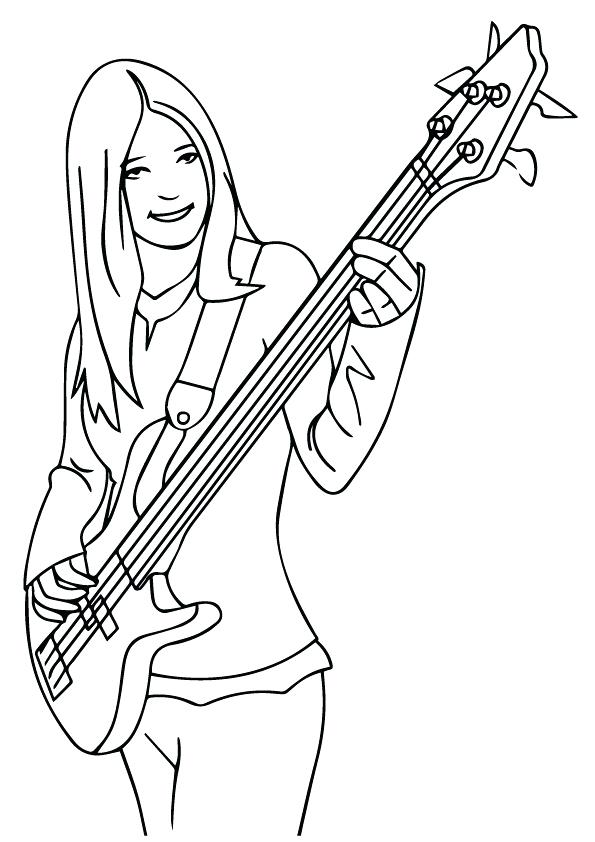 595x842 Guitar Coloring Pages Girl Playing Bass Guitar Coloring Pages
