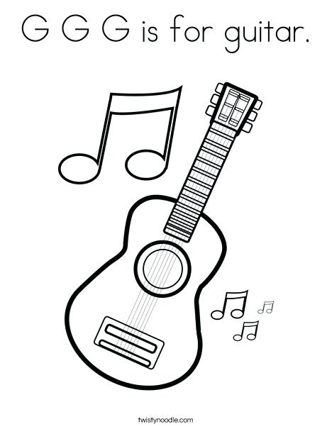 468x605 Guitar Coloring Pages Guitar With Music Notes Coloring Page Bass