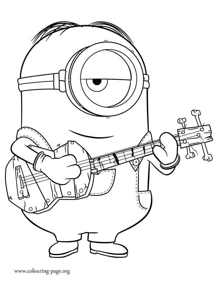 700x902 Bass Guitar Coloring Pages Colouring Kids Minions Playing Page